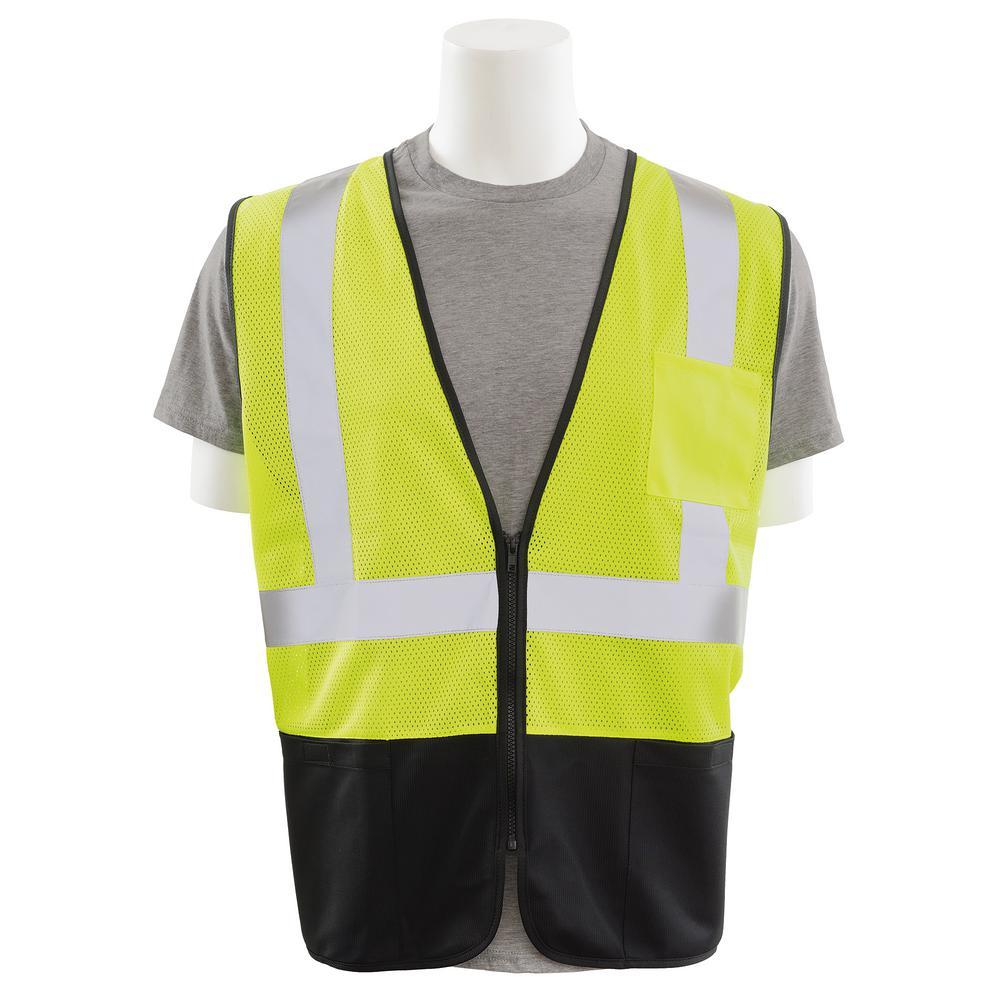 S363PB X-Large HVL/Black Polyester Mesh/Solid Bottom Safety Vest with Zipper