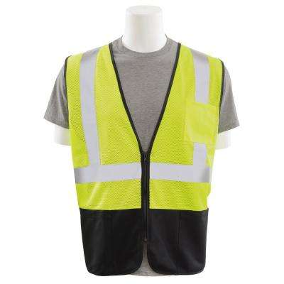S363PB X-Large HVL/Black Polyester Mesh/Solid Bottom Safety Vest with Zipper