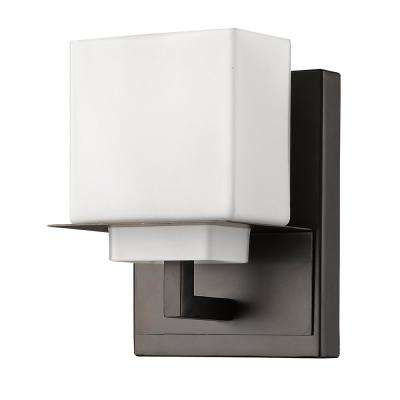 Rampart 1-Light Oil-Rubbed Bronze Sconce with Etched Glass Shade