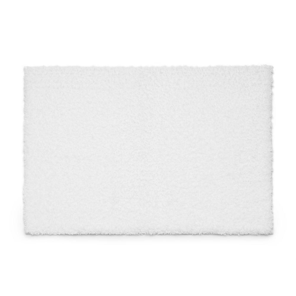 White 21 in. x 34 in. 100% Microfiber 2-Piece Bath Rug Set