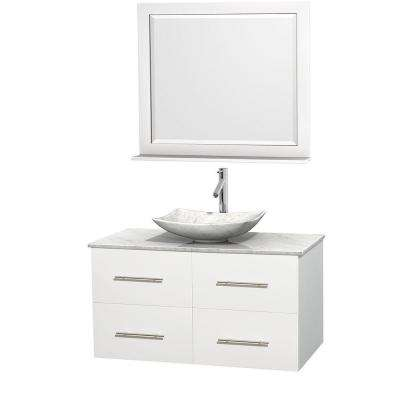 Centra 42 in. Vanity in White with Marble Vanity Top in Carrara White, Marble Sink and 36 in. Mirror