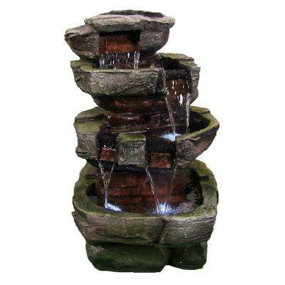 24 in. Tiered Stone Water Fountain with LED Lights