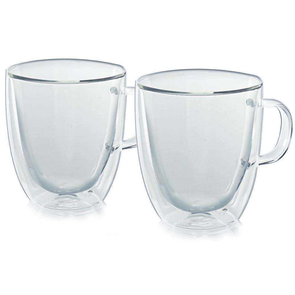 Milano Double-Wall 12 oz. Clear Glassware Coffee Mug (2-Pack)