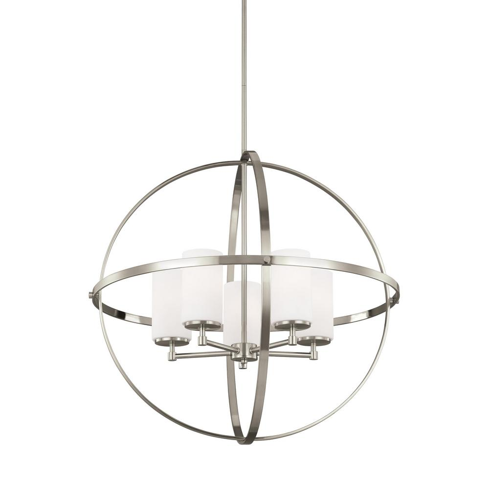 Alturas 5-Light Brushed Nickel Single Tier Chandelier with LED Bulbs