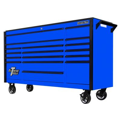DX Series 72 in. 17-Drawer Roller Cabinet Tool Chest in Blue with Mag Wheels and Black Drawer Pulls