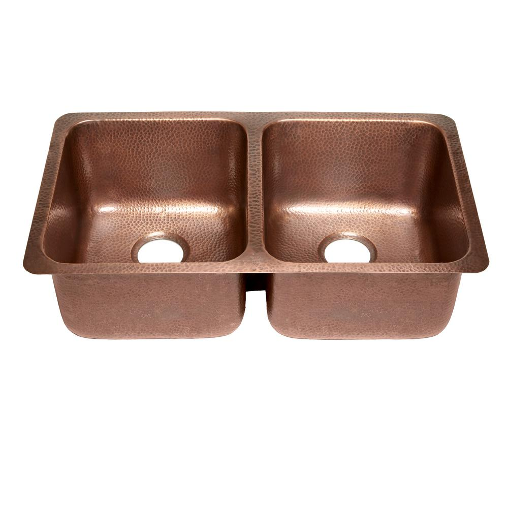 SINKOLOGY Rivera Luxury Series Undermount Solid Copper 32 in. Double Bowl 50/50 Kitchen Sink in Antique Copper