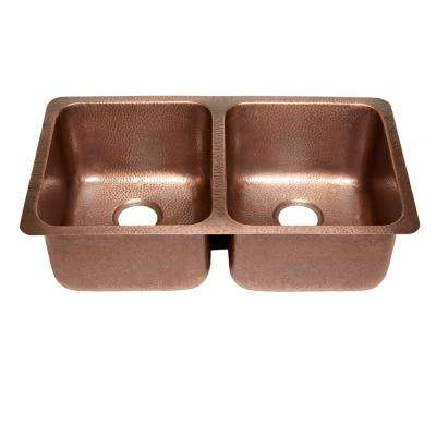 Rivera Luxury Series Undermount Solid Copper 32 in. Double Bowl Kitchen Sink in Hammered Antique Copper