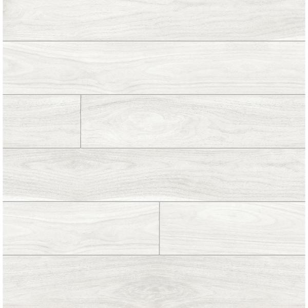 Off-White Teak Planks Peel and Stick Wallpaper 30.75 sq. ft.
