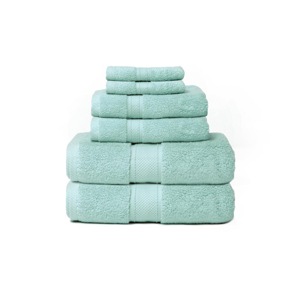 Hotel Zero Twist 6-Piece 100% Cotton Bath Towel Set in Spa Blue
