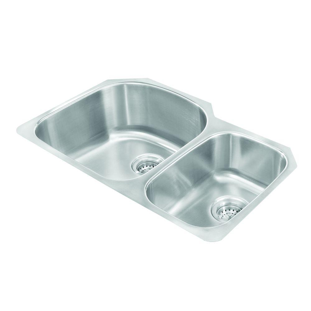 Pegasus Undermount Stainless Steel 30 In. 2 Hole Double Bowl Kitchen Sink