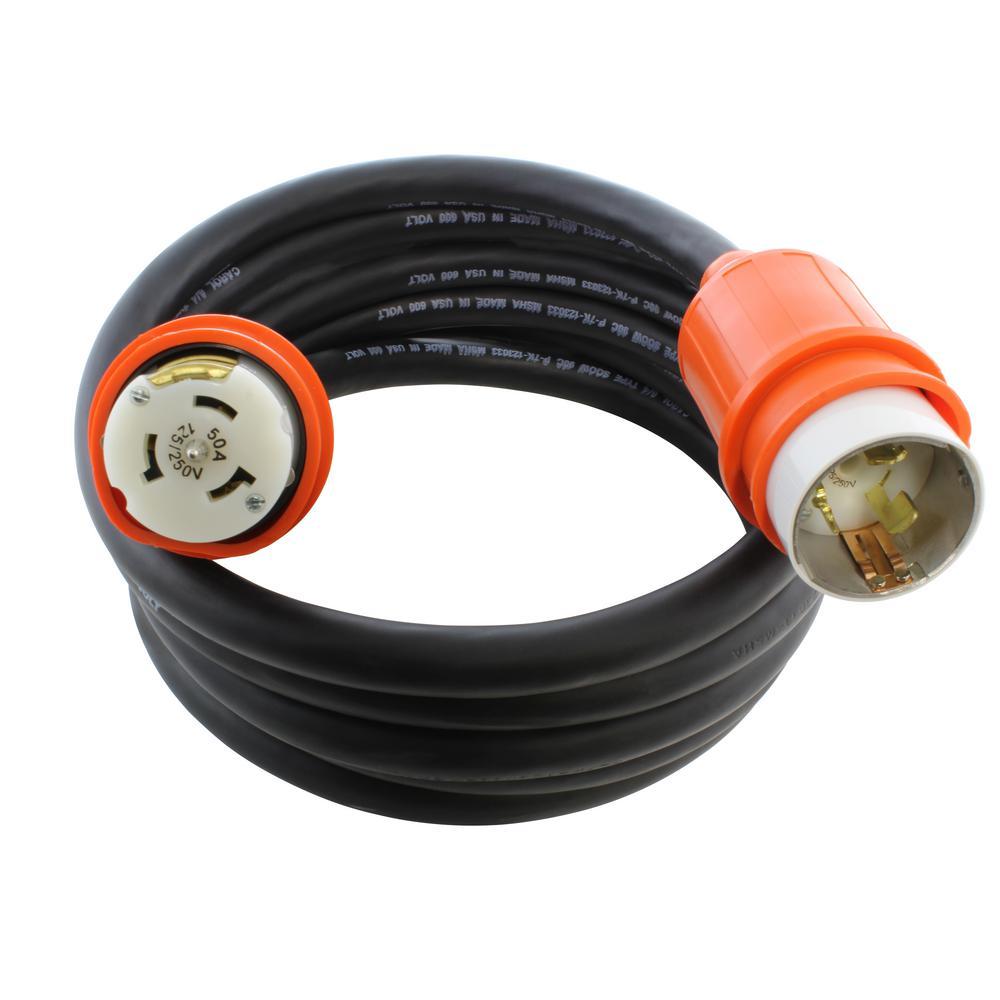 25 ft. SOOW 6/4 CS6365/CS6364 CA Standard Heavy Duty 50 Amp 125/250-Volt Locking Temp Power Rubber Extension Cord
