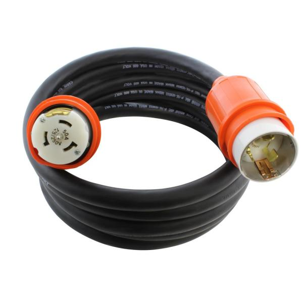 50 ft. SOOW 6/4 CS6365/CS6364 CA Standard Heavy Duty 50 Amp 125/250-Volt Locking Temp Power Rubber Extension Cord