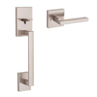 San Clemente Satin Nickel Door Handleset with Halifax Square Door Lever with Microban Antimicrobial Technology