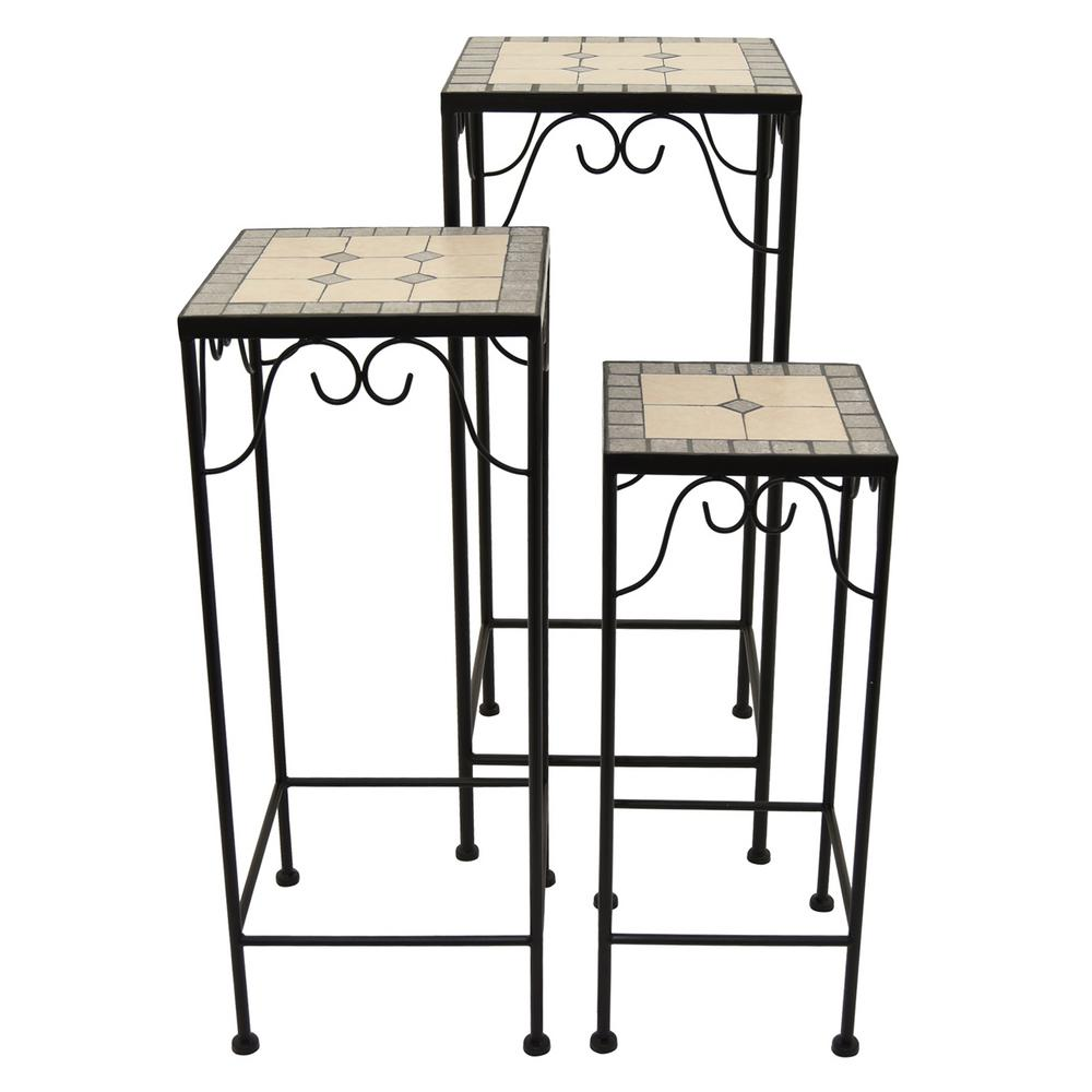 three hands 27 5 in multi colored plant stands with mosaic set of 3 37781 the home depot. Black Bedroom Furniture Sets. Home Design Ideas