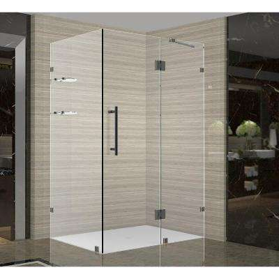 Avalux GS 35 in. x 30 in. x 72 in. Completely Frameless Shower Enclosure with Glass Shelves in Oil Rubbed Bronze