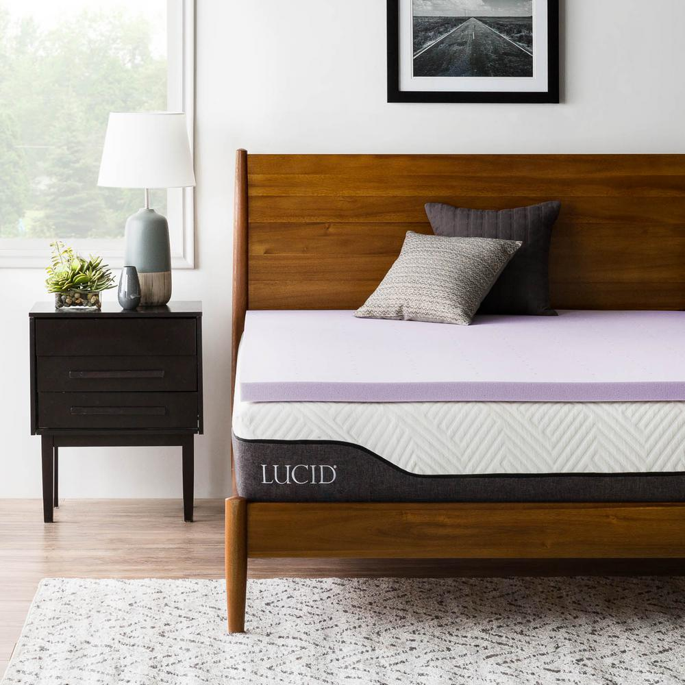 lucid 2 in twin xl lavender infused memory foam mattress topper hdlu20tx30vt the home depot. Black Bedroom Furniture Sets. Home Design Ideas