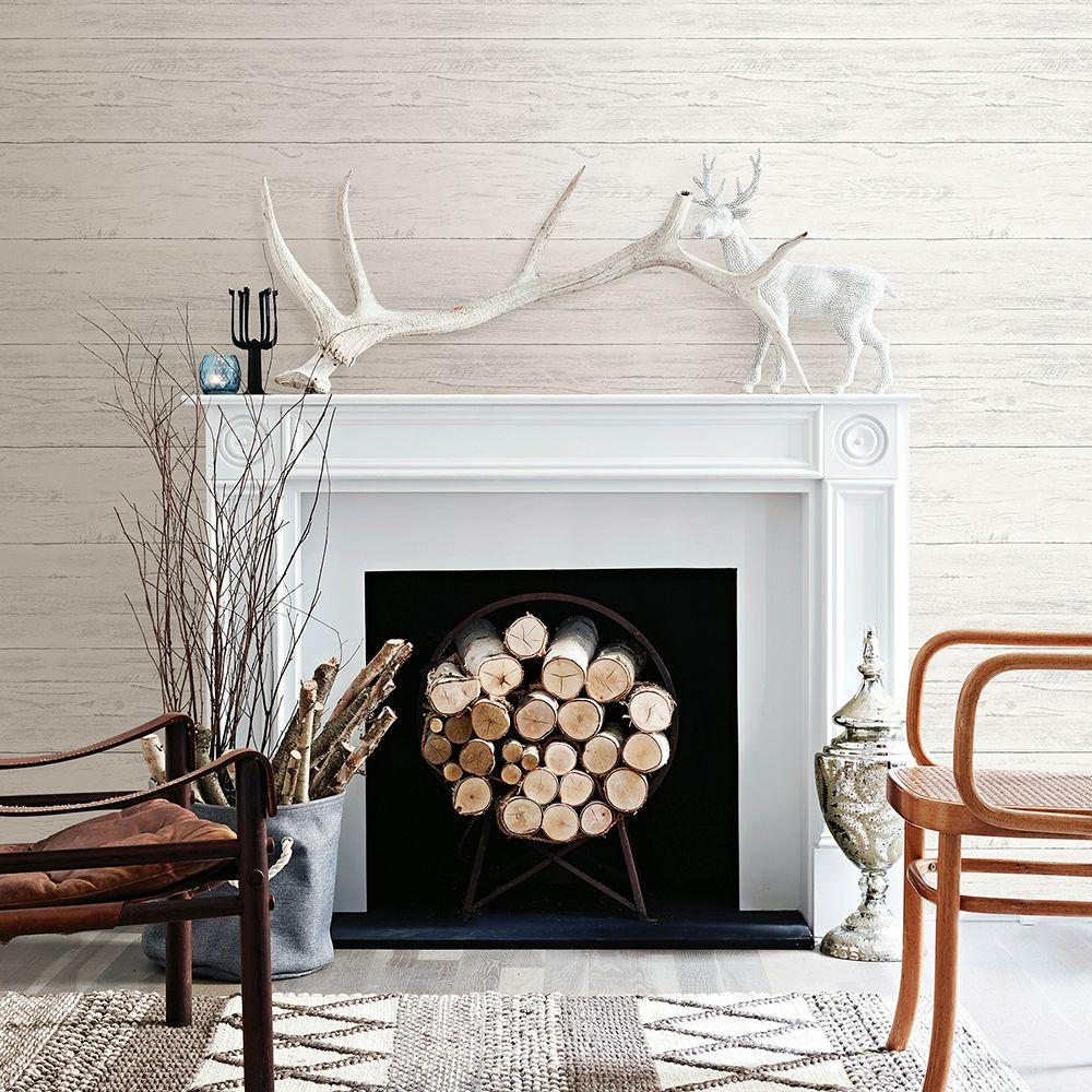 Brewster Cream White Washed Boards Shiplap Wallpaper