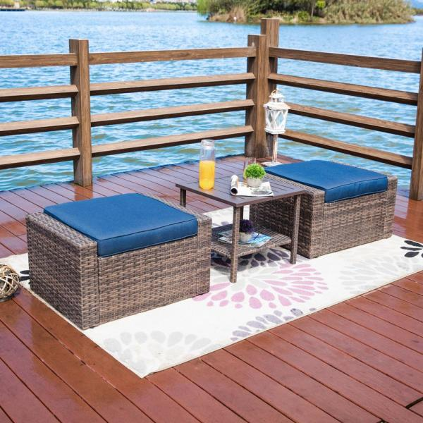 3-Piece Wicker Outdoor Ottoman with Blue Cushions (2-Pack)