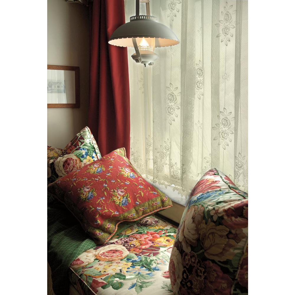 Tea Rose Ecru Lace Curtain 60 in. W 63 in. L
