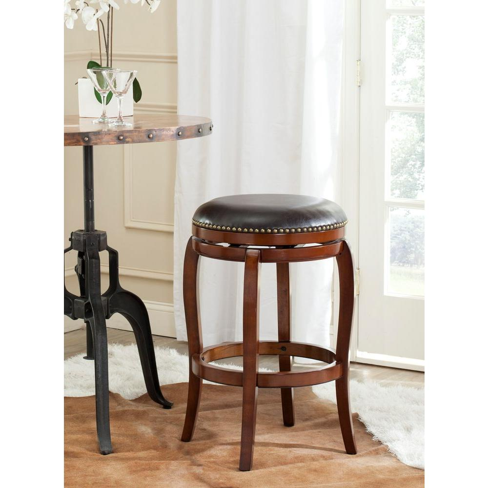 Safavieh Nuncio 29 in. Walnut Swivel Cushioned Bar Stool,...