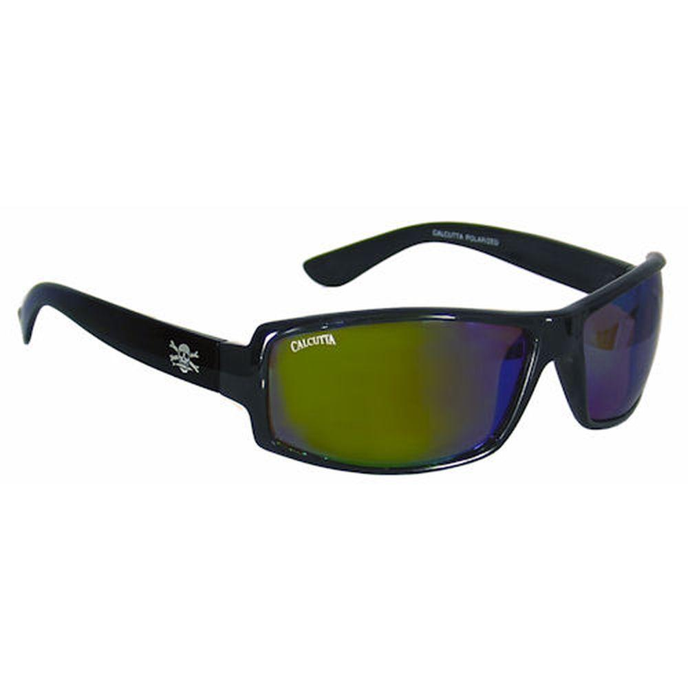 Black Frame New Wave Sunglasses with Blue Mirror Lenses