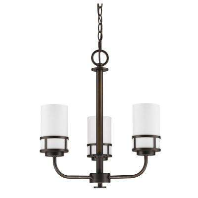 Alexis Indoor 3-Light Oil Rubbed Bronze Mini Chandelier with Glass Shades