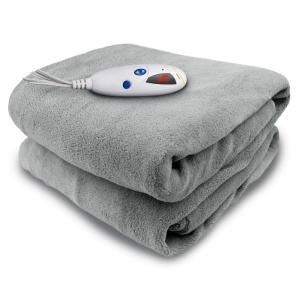 Biddeford Blankets 4460 Series Grey in Color 1-Size 50 inch x 62 inch Micro Plush Heated Throw by Biddeford Blankets