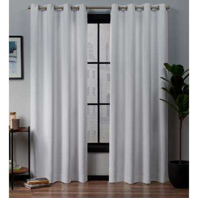 Academy 52 in. W x 84 in. L Woven Blackout Grommet Top Curtain Panel in White (2 Panels)