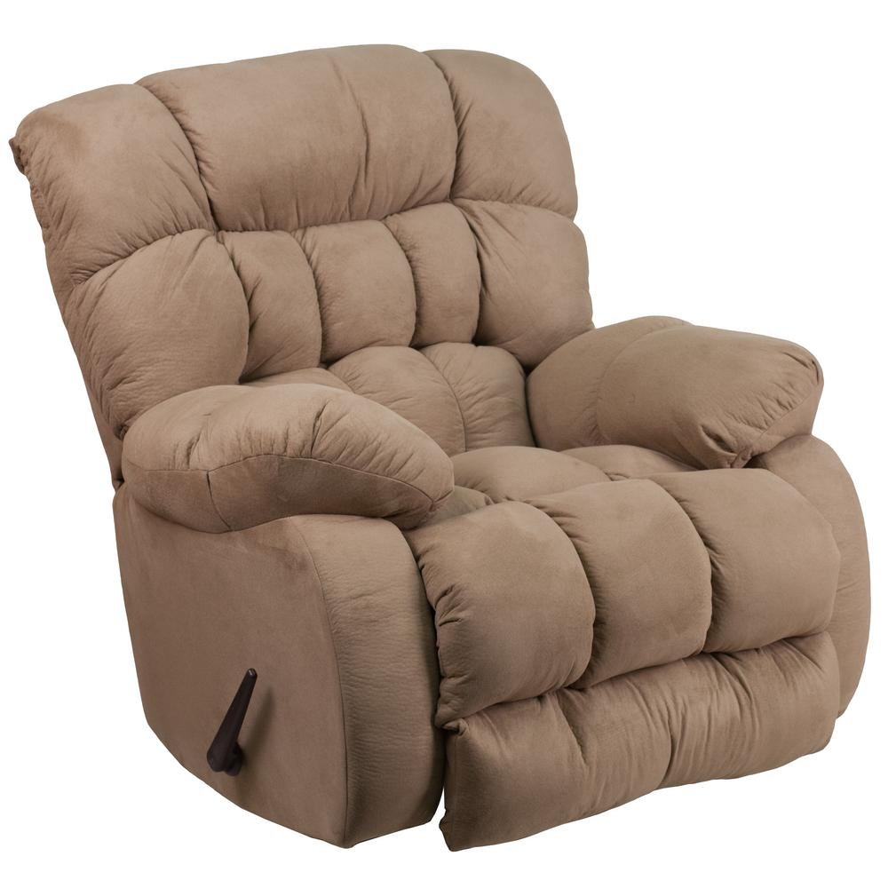 Contemporary Softsuede Taupe Microfiber Rocker Recliner