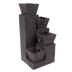 Pure Garden 4 Tier Square Tabletop LED Water Fountain with Modern Design by Pure Garden