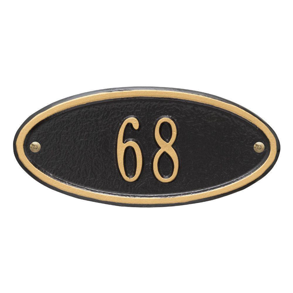 Madison Petite Oval Black/Gold Wall 1-Line Address Plaque