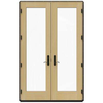 59.25 in. x 95.5 in. W-4500 Black Right-Hand Inswing French Wood Patio Door