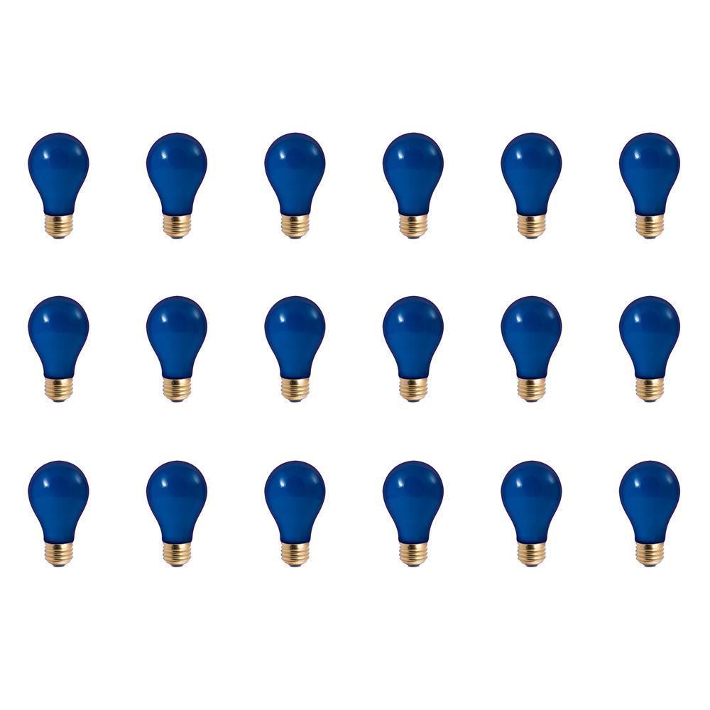 25-Watt A19 Ceramic Blue Dimmable Incandescent Light Bulb (18-Pack)