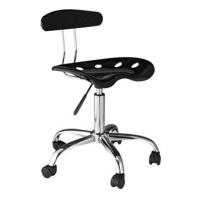 Black Computer Task Chair with Tractor Seat and Back