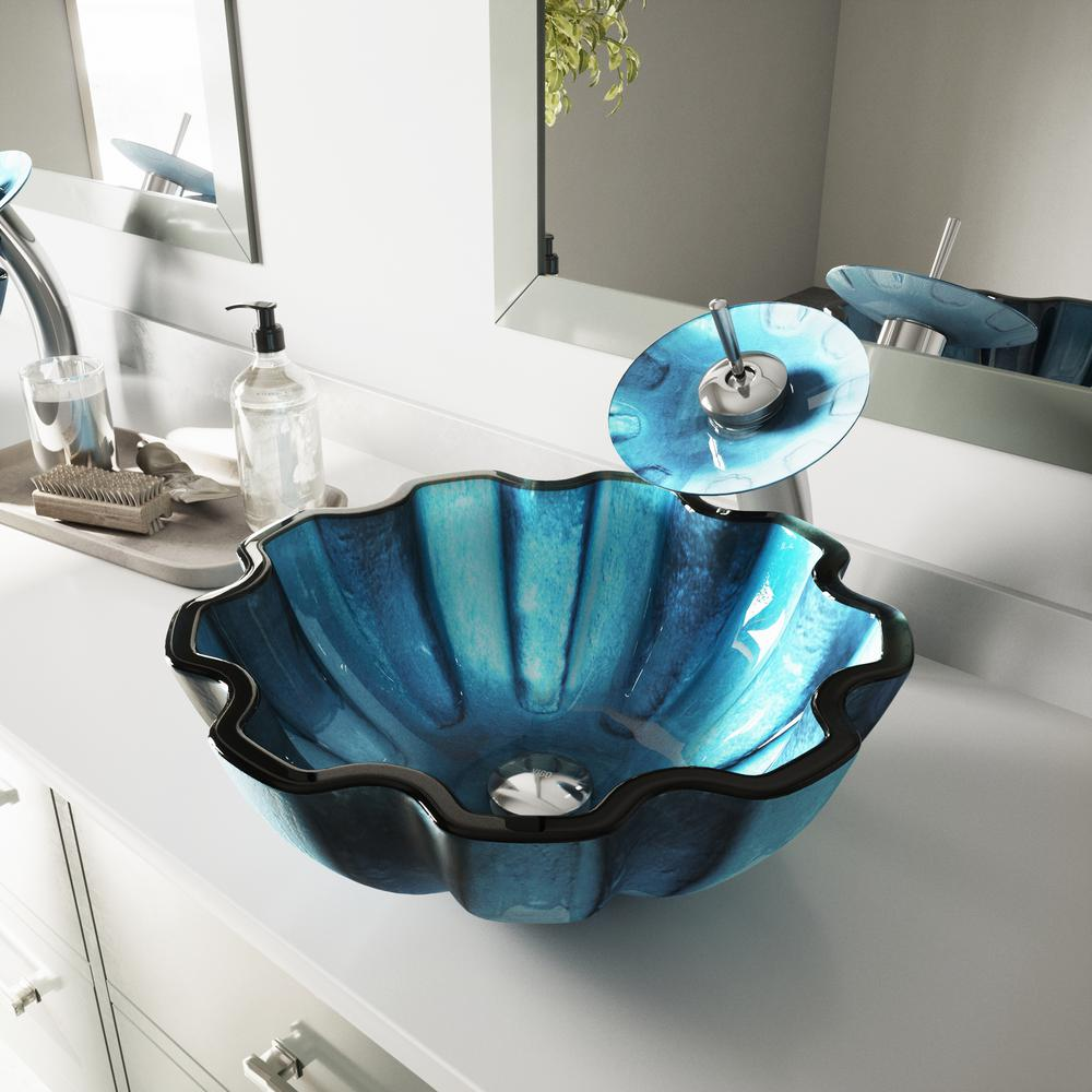 Vigo Mediterranean Seashell Vessel Sink In Blue With Waterfall Faucet Chrome