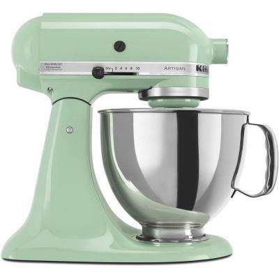 Artisan 5 Qt. 10-Speed Pistachio Green Stand Mixer with Flat Beater, Wire Whip and Dough Hook Attachments