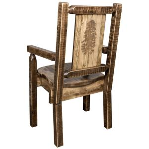 Homestead Collection Early American Laser Engraved Pine Tree Motif Captains Chair