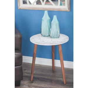 Brown and White Carved Wood Round Accent Table by