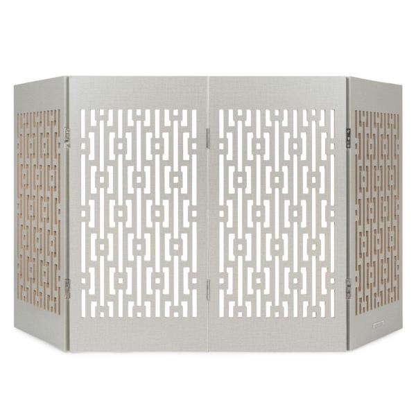 Decorative Freestanding Pet Gate, Gray Geometric