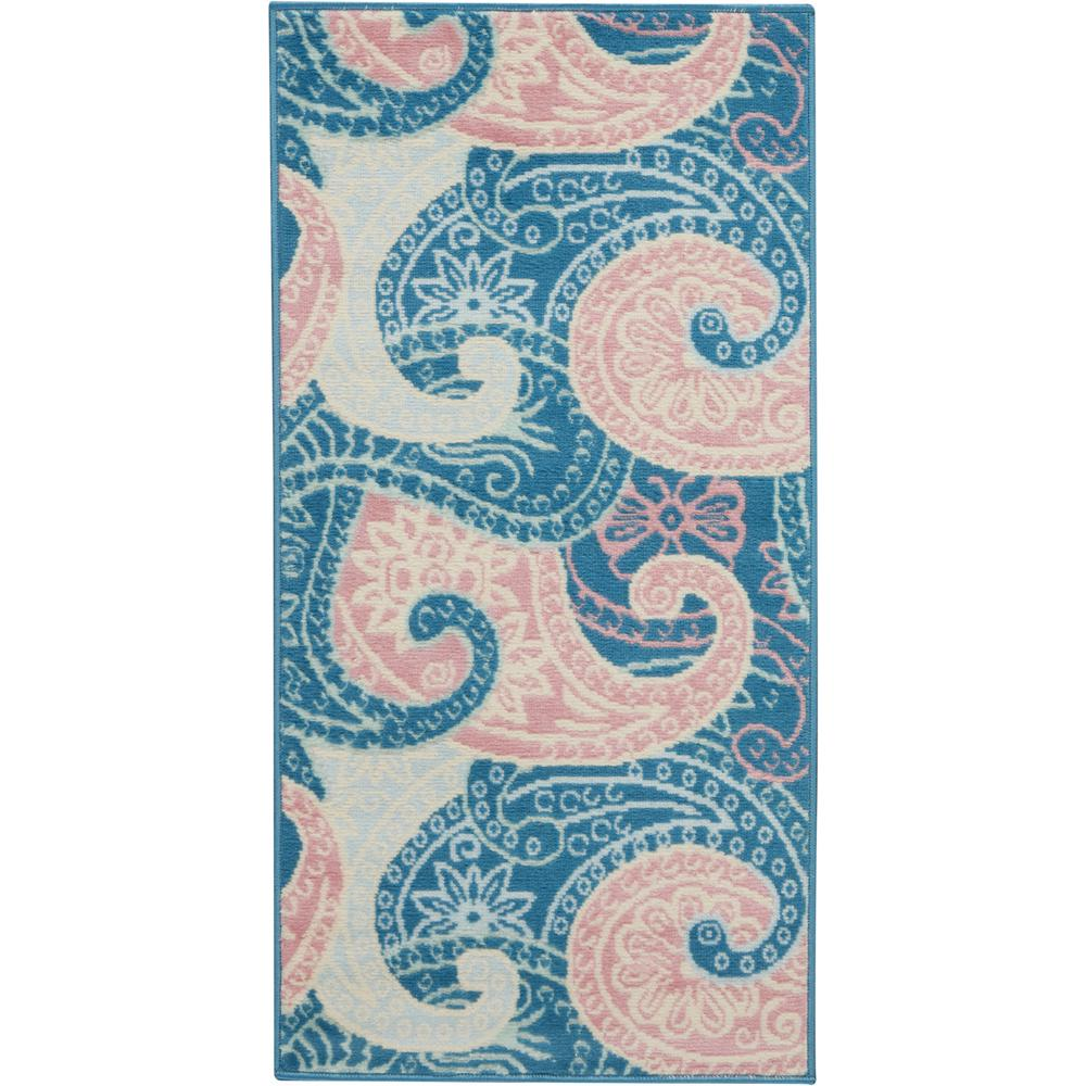 Nourison Jubilant 2' X 4' Small Pink And Blue Paisley Area