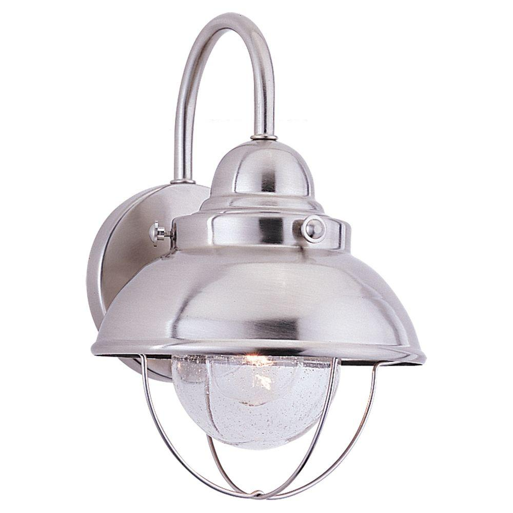 Sea Gull Lighting Sebring 1-Light Brushed Stainless Outdoor Wall Lantern Sconce was $140.96 now $96.35 (32.0% off)