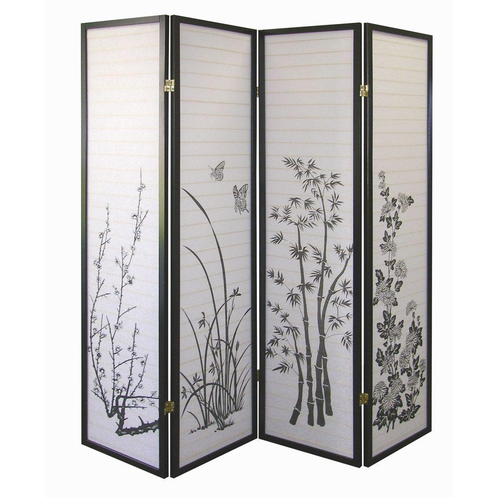 583 ft Black 4 Panel Room Divider R590 4 The Home Depot