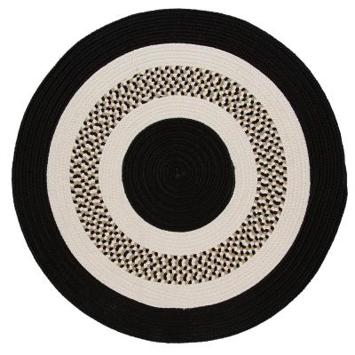 Spiral II Black 8 ft. x 8 ft. Round Indoor/Outdoor Area Rug