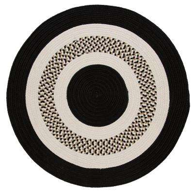 Spiral II Black 8 ft. x 8 ft. Indoor/Outdoor Round Area Rug