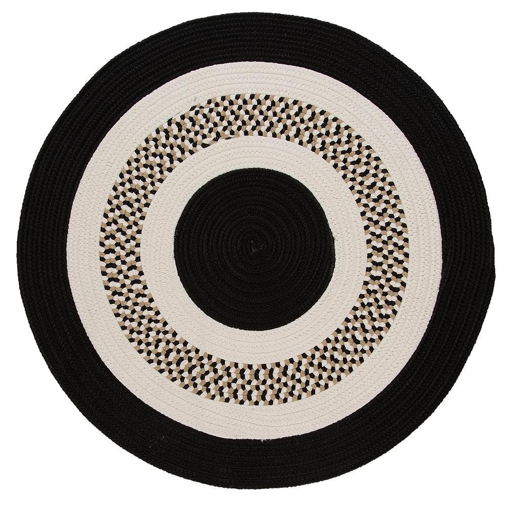Spiral II Black 10 ft. x 10 ft. Indoor/Outdoor Round Area Rug