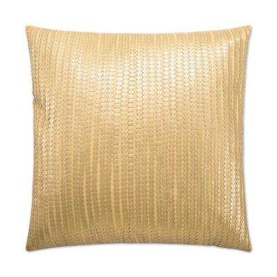Paillette Gold Feather Down 24 in. x 24 in. Standard Decorative Throw Pillow