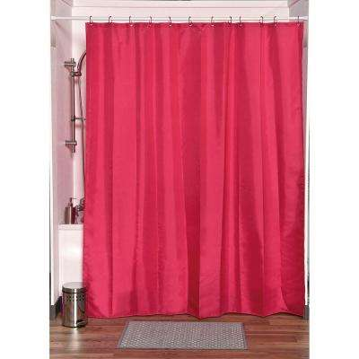 Design S Fabric 79 in.Polyester Shower Curtain Set with 12 Matching Rings Pink
