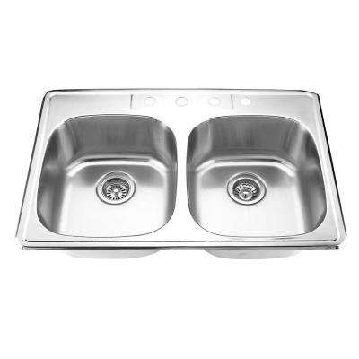Drop-in Stainless Steel 33 in. 4-Hole Double Bowl Kitchen Sink in Satin