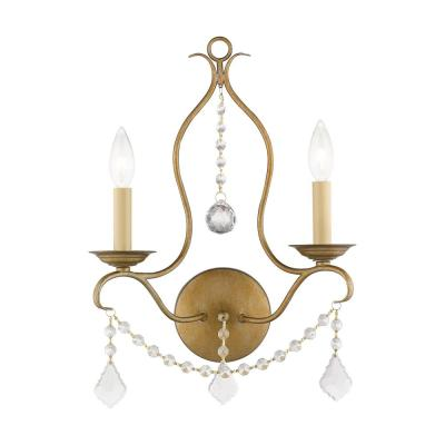 Chesterfield 2 Light Antique Gold Leaf Wall Sconce