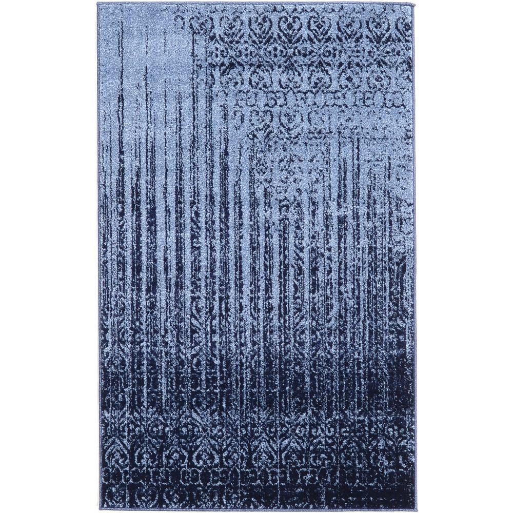 3 x 5 Unique Loom Del Mar Collection Contemporary Transitional Light Blue Area Rug